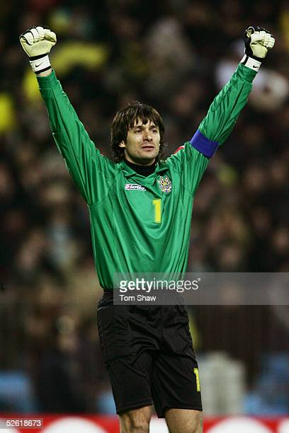 Alexandr Shovkovski of Ukraine celebrates during the World Cup qualifying match between Ukraine and Denmark held at the Olympic Stadium in Kiev...