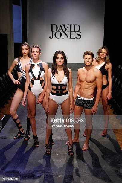 Alexandra Agoston, Montana Cox, Jessica Gomes, Jason Dundas and Jesinta Campbell showcases designs by Jets during rehearsal ahead of the David Jones...