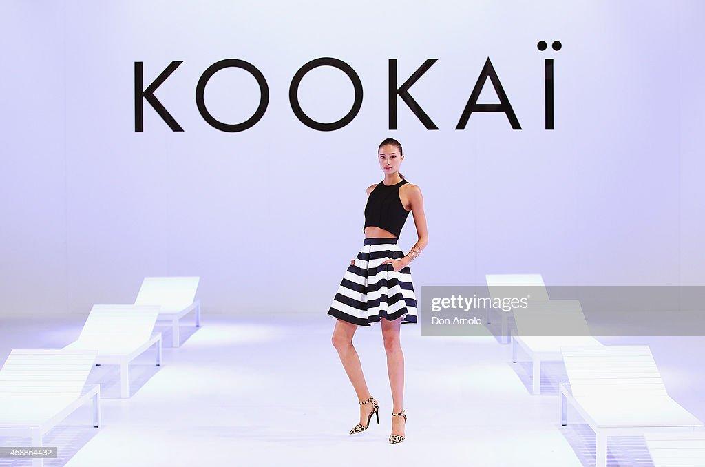 Alexandra Agoston showcases designs on the catwalk at Kookai Fashion Show SS14/15 at Carriageworks on August 20, 2014 in Sydney, Australia.