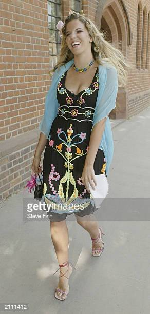 Alexandra Aitken arrives at the wedding of her father Jonathan Aitken and Elizabeth Harris on June 25 2003 in London