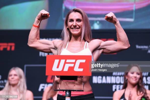 Alexandra Albu of Moldova poses on the scale during the UFC Fight Night weighin at Comerica Theatre on February 16 2019 in the Phoenix Arizona