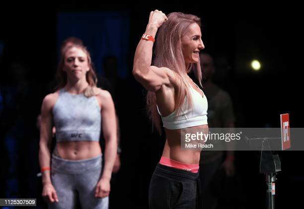 Alexandra Albu of Moldova poses on the scale during the UFC Fight Night weighin at the Comerica Theatre on February 16 2019 in the Phoenix Arizona