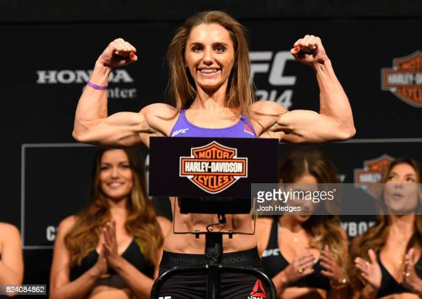 Alexandra Albu of Russia poses on the scale during the UFC 214 weighin inside the Honda Center on July 28 2017 in Anaheim California
