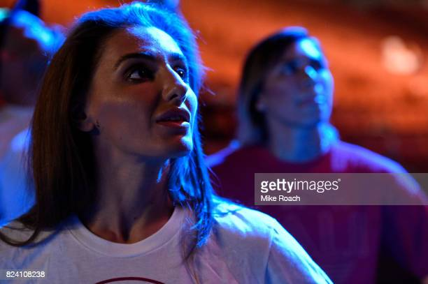 Alexandra Albu of Russia waits backstage during the UFC 214 weighin inside the Honda Center on July 28 2017 in Anaheim California