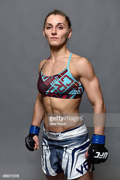 Alexandra Albu poses for a post fight portrait backstage during the UFC Fight Night event at the Tauron Arena on April 11 2015 in Krakow Poland