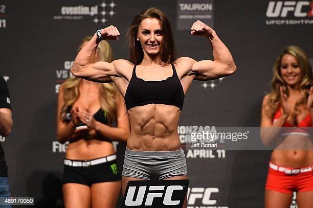 Alexandra Albu weighs in during the UFC Fight Night weighin at the Tauron Arena on April 10 2015 in Krakow Poland