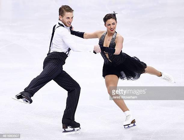 Alexandra Aldridge and Daniel Eaton skate in the short dance program during the 2014 Prudential US Figure Skating Championships at TD Garden on...