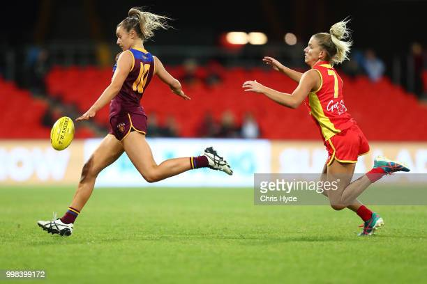 Alexandra Anderson of the Lions kicks during the AFLW Winter Series match between the Gold Coast Suns and the Brisbane Lions at Metricon Stadium on...