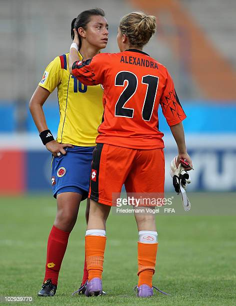Alexandra Avendano and Lady Andrade of Colombia crying during the FIFA U20 Women's World d Cup Group A match between Germany and Colombia at the FIFA...