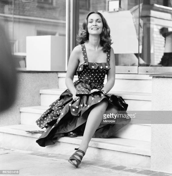 Alexandra Bastedo British actress unveils Tsaritsar Spring Collection in Pont Street London Wednesday 15th November 1972 Alex part of the Whitehall...