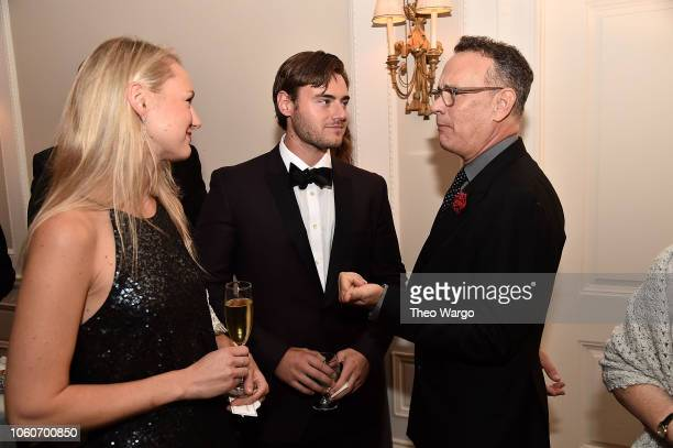 Alexandra Beckmeyer Sean Beckmeyer and Tom Hanks attend the 2018 American Friends of Dinner on November 9 2018 in New York City