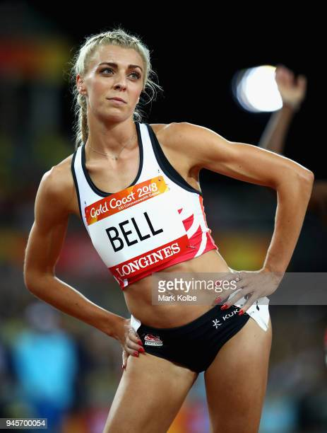 Alexandra Bell of England looks on prior to the Women's 800 metres final during athletics on day nine of the Gold Coast 2018 Commonwealth Games at...