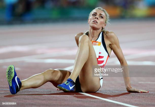 Alexandra Bell of England reacts after the Women's 800 metres final during athletics on day nine of the Gold Coast 2018 Commonwealth Games at Carrara...