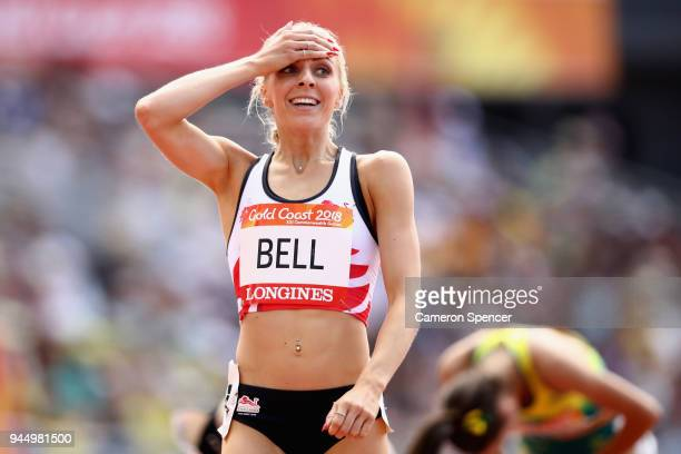 Alexandra Bell of England reacts after the Women's 800 metres heats during athletics on day eight of the Gold Coast 2018 Commonwealth Games at...