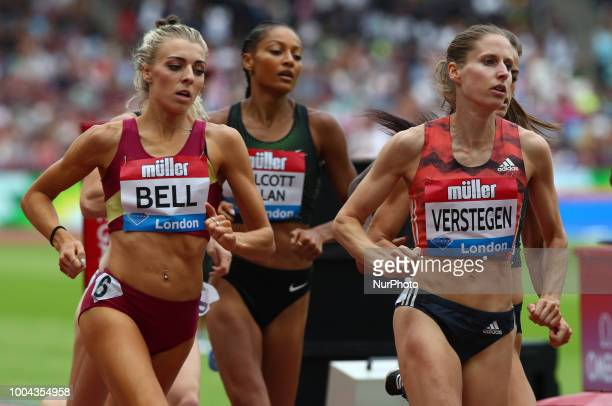 LR Alexandra Bell of Great Britain and Sanne VerstegenWolters of Netherlands Compete in the 800m Women during the Muller Anniversary Games IAAF...