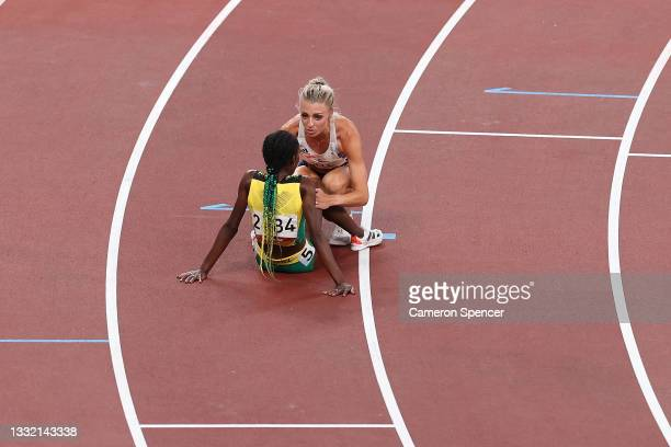 Alexandra Bell of Team Great Britain and Natoya Goule of Team Jamaica interact after competing in the Women's 800m Final on day eleven of the Tokyo...