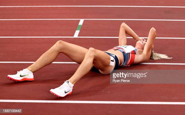 Alexandra Bell of Team Great Britain reacts after competing in the Women's 800m Final on day eleven of the Tokyo 2020 Olympic Games at Olympic...