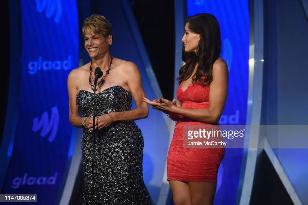 Alexandra Billings and Trace Lysette speak onstage during the 30th Annual GLAAD Media Awards New York at New York Hilton Midtown on May 04 2019 in...