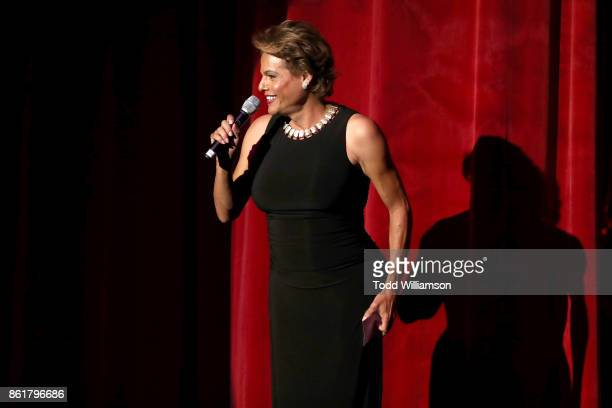Alexandra Billings speaks onstage at National Breast Cancer Coalition Fund's 17th Annual Les Girls Cabaret at Avalon Hollywood on October 15 2017 in...