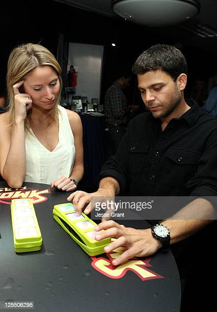 Alexandra Blodgett and actor Jerry Ferrara attend The HP Touchsmart Gift Lounge backstage at the Nokia Theatre in celebration of The 63rd Primetime...