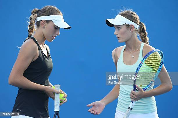 Alexandra Bozovic and Kaylah McPhee of Australia compete in their match against Naho Sato and Stako Sueno of Japan during the Australian Open 2016...