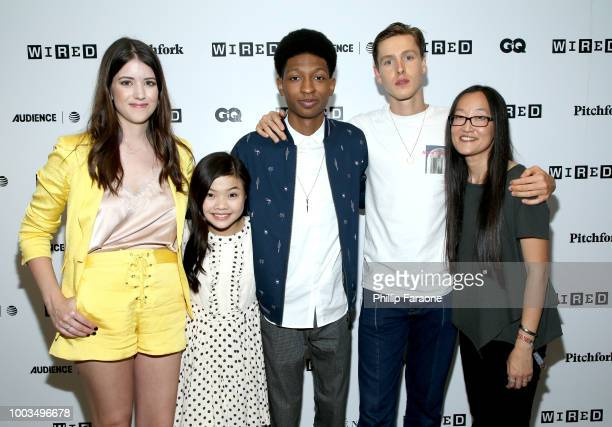 Alexandra Bracken Miya Cech Skylan Brooks Harris Dickinson and Jennifer Yuh Nelson of 'The Darkest Minds' attends the 2018 WIRED Cafe at Comic Con...