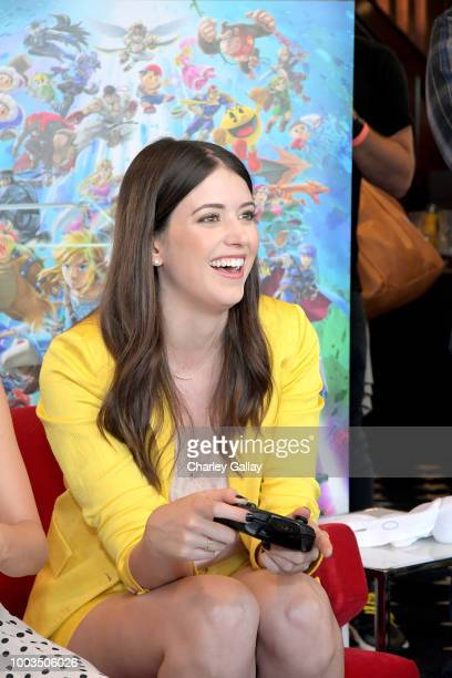 Alexandra Bracken puts her gaming skills to the test playing Mario Kart 8 Deluxe on Nintendo Switch at the Variety Studio at ComicCon 2018 on July 21...