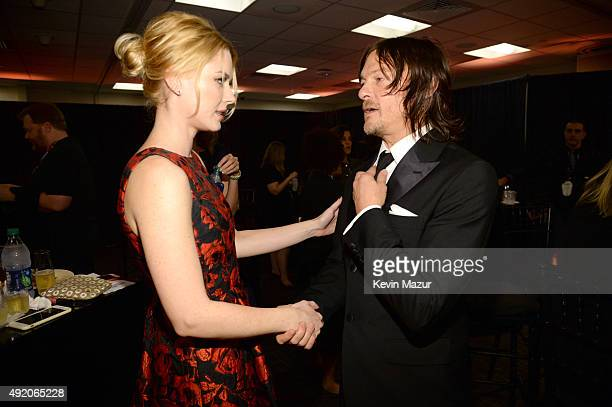 """Alexandra Breckenridge and Norman Reedus attend AMC's """"The Walking Dead"""" season 6 fan premiere event at Madison Square Garden on October 9, 2015 in..."""