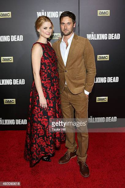 Alexandra Breckenridge and Ryan Eggold attend 'The Walking Dead' premiere at Madison Square Garden on October 9 2015 in New York City