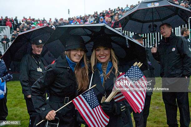 Alexandra Browne and Kandi Harris during the morning fourball matches at the 38th Ryder Cup at the Twenty Ten Course at Celtic Manor in Newport Wales...