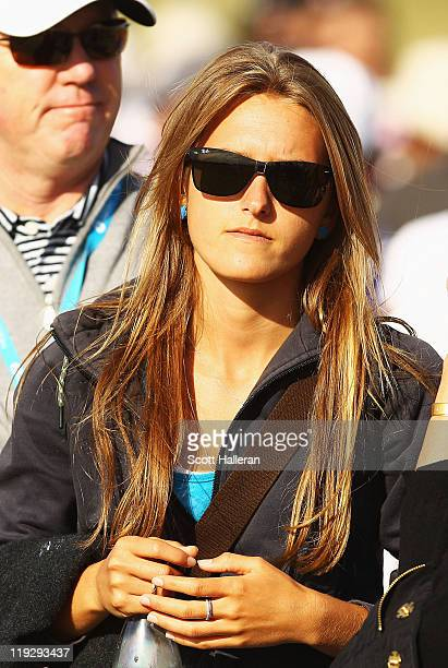 Alexandra Browne girlfriend of Rickie Fowler of the United States during the second round of The 140th Open Championship at Royal St George's on July...
