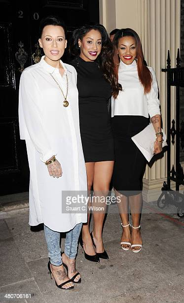 Alexandra Buggs Karis Anderson and Courtney Rumbold of 'Stooshe' attend a party to celebrate 25 years of Magnum at Home House on March 26 2014 in...