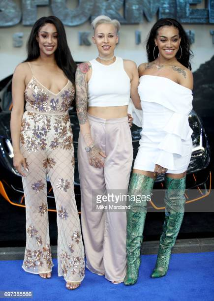 Alexandra Buggs Karis Anderson and Courtney Rumbold of the band Stooshe attend the global premiere of 'Transformers The Last Knight' at Cineworld...