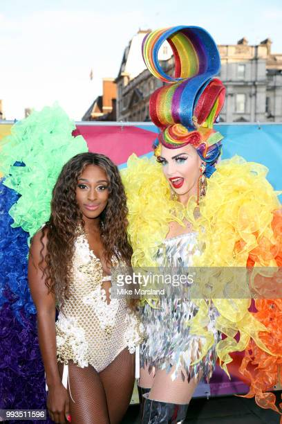 Alexandra Burke and Alyssa Edwards pose at the Trafalgar Square Stage during Pride In London on July 7 2018 in London England It is estimated over 1...
