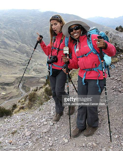 Alexandra Burke and Amanda Byram trek in the Kunkani area on day two of Denise and Fearne's Charity Trek for Breast Cancer Care on September 28 2010...
