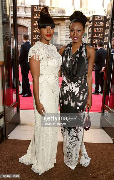 Alexandra Burke and Beverley Knight attend the Laurence Olivier Awards at The Royal Opera House on April 13 2014 in London England
