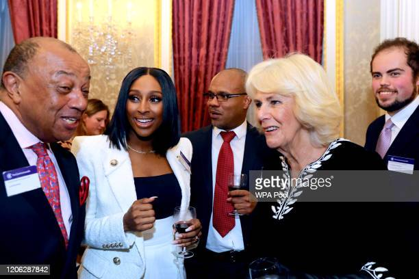 Alexandra Burke and Camilla Duchess of Cornwall attend the Commonwealth Day reception 2020 on March 9 2020 in London England