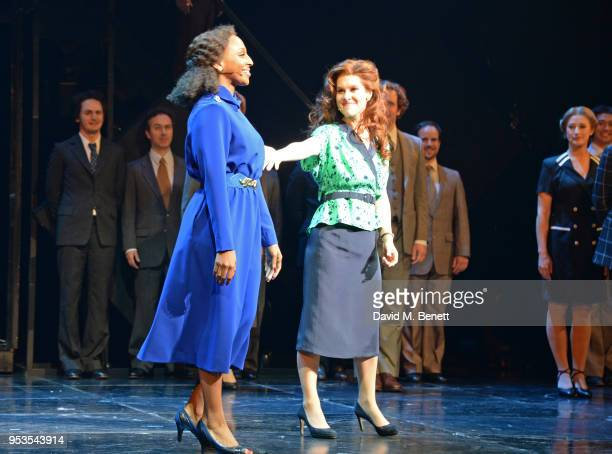 Alexandra Burke and Cassidy Janson bow at the curtain call during the press night performance of 'Chess' at The London Coliseum on May 1 2018 in...