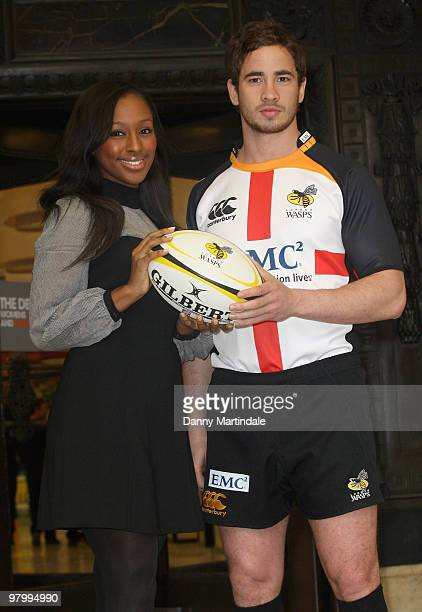 Alexandra Burke and Danny Cipriani attend photocall to launch the St Georges Day Rugby Match between London Wasps and Bath at Twickenham at...