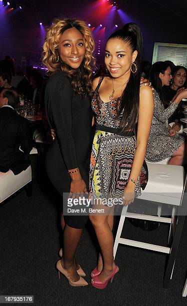 Alexandra Burke and Dionne Bromfield attend Gabrielle's Gala 2013 supported by Lorraine Schwartz at Battersea Power Station on May 2 2013 in London...