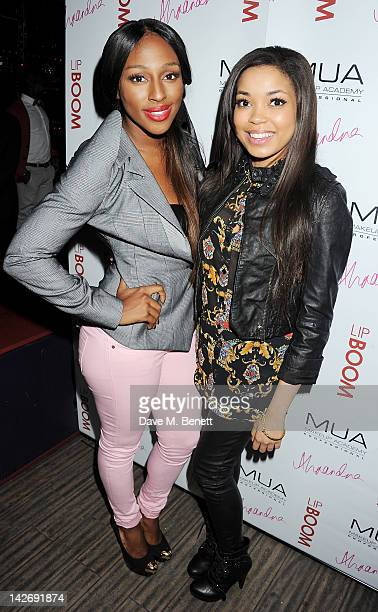 Alexandra Burke and Dionne Bromfield attend the launch of LIPBOOM created with Alexandra Burke by MUA Cosmetics at The Rose Club on April 11 2012 in...