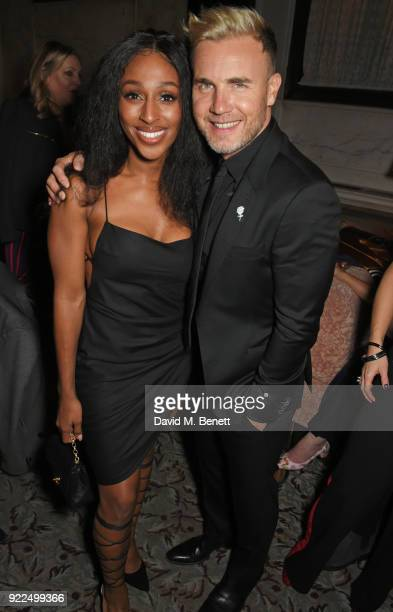 Alexandra Burke and Gary Barlow attend the Universal Music BRIT Awards AfterParty 2018 hosted by Soho House and Bacardi at The Ned on February 21...