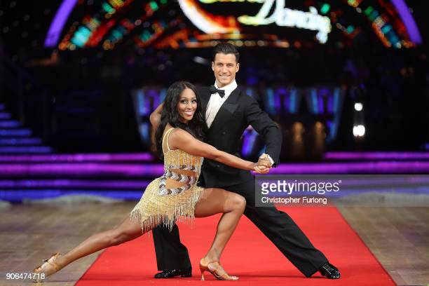 Alexandra Burke and Gorka Marquez attend the 'Strictly Come Dancing' Live! photocall at Arena Birmingham, on January 18, 2018 in Birmingham, England....