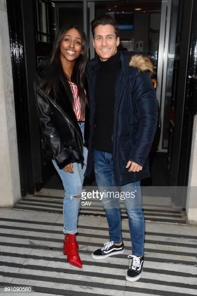 Alexandra Burke and Gorka Marquez sighting at BBC Radio 2 on December 12 2017 in London England