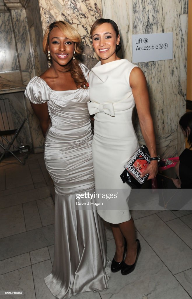 Alexandra Burke and Jessica Ennis pose at the winners boards at the Cosmopolitan Ultimate Woman of the Year Awards after party at Victoria & Albert Museum on October 30, 2012 in London, England.