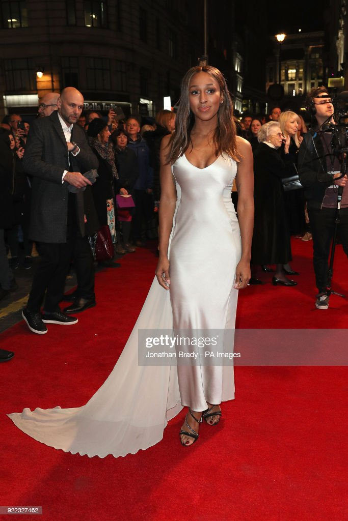 Alexandra Burke arrives at the BBC event Bruce: A Celebration at the London Palladium, which will honour the life of the late entertainer Sir Bruce Forsyth.
