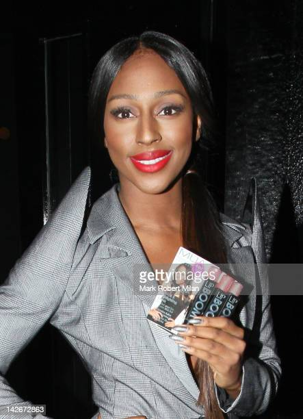 Alexandra Burke arrives at the launch of her first Lip Enhancing Lipstick and Gloss collection held at the Rose club on April 11 2012 in London...