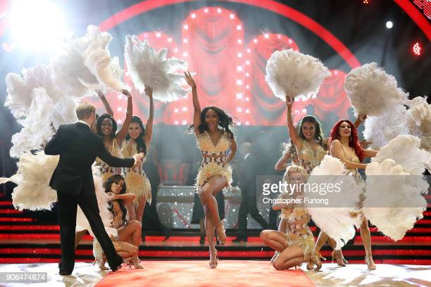 Alexandra Burke arrives on stage as she attends the 'Strictly Come Dancing' Live! photocall at Arena Birmingham, on January 18, 2018 in Birmingham,...