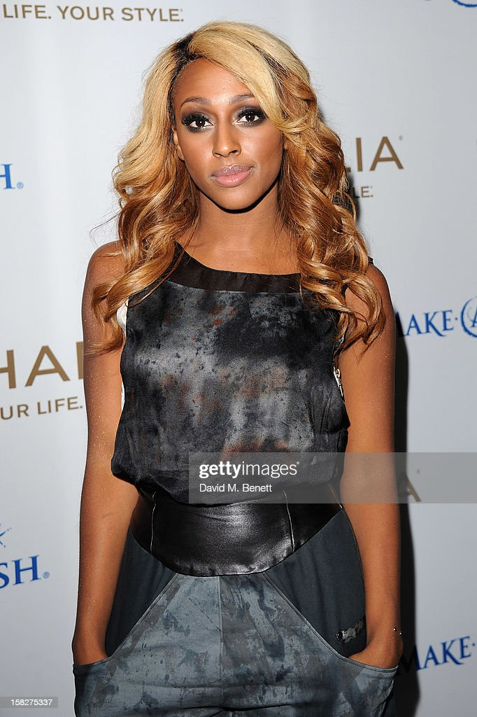 Alexandra Burke attends a champagne reception celebrating the launch of Chamilia and Ernest Jones' partnership with Make-A-Wish International at the Corinthia Hotel on December 12, 2012 in London, England.