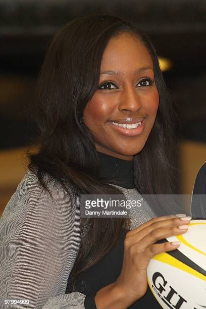 Alexandra Burke attends photocall to launch the St Georges Day Rugby Match between London Wasps and Bath at Twickenham at Selfridges on March 24 2010...